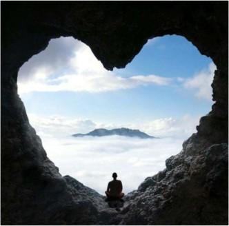 Meditation - rock heart clouds